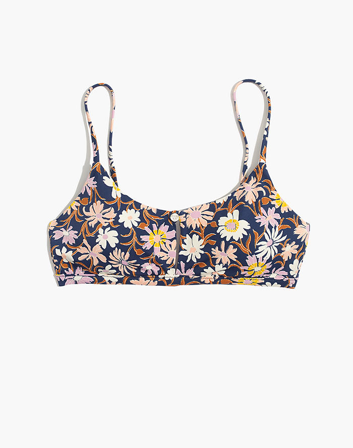 ffc6ddc26a Madewell Second Wave Button-Front Bikini Top in Wildflower Garden