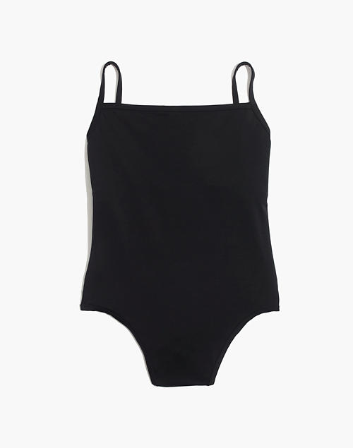 1acc1ea69a4 Madewell Second Wave Straight One-Piece Swimsuit in true black image 1