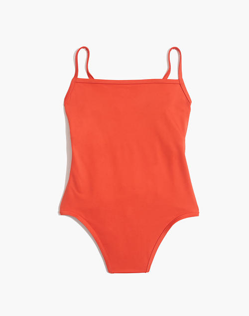 32d1841a75d Madewell Second Wave Straight One-Piece Swimsuit in coastal orange image 4