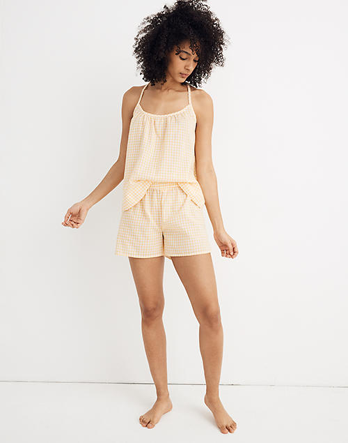 Bedtime Pajama Shorts In Saffron Gingham by Madewell
