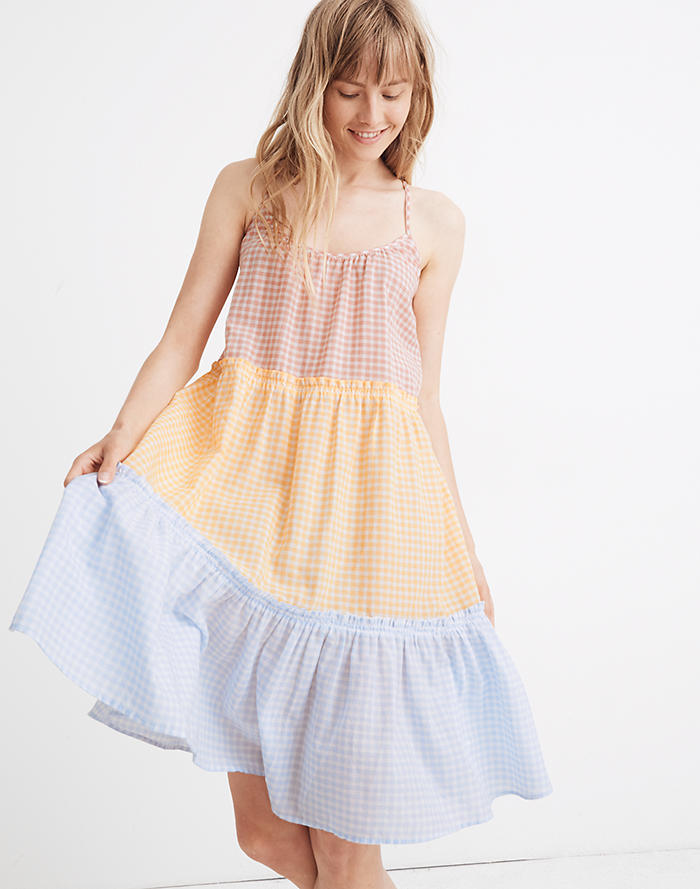 99449686583 Tiered Cover-Up Dress in Colorblock Gingham