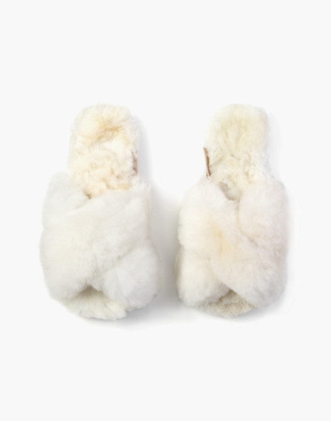 ARIANA BOHLING® Crisscross Alpaca Slippers in white image 1