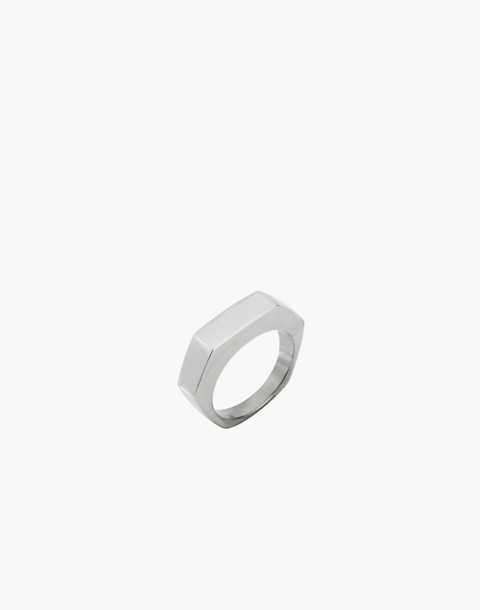 Charlotte Cauwe Studio Sterling Silver Slim Hex Ring in silver image 1