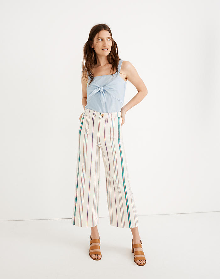 7bd6fdff25 Tall Emmett Wide-Leg Crop Pants in Pink Stripe