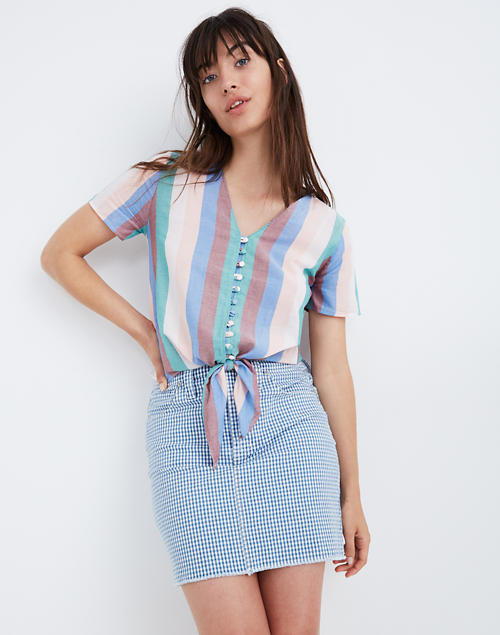 Novel Tie Front Button Top In Flagstaff Stripe by Madewell