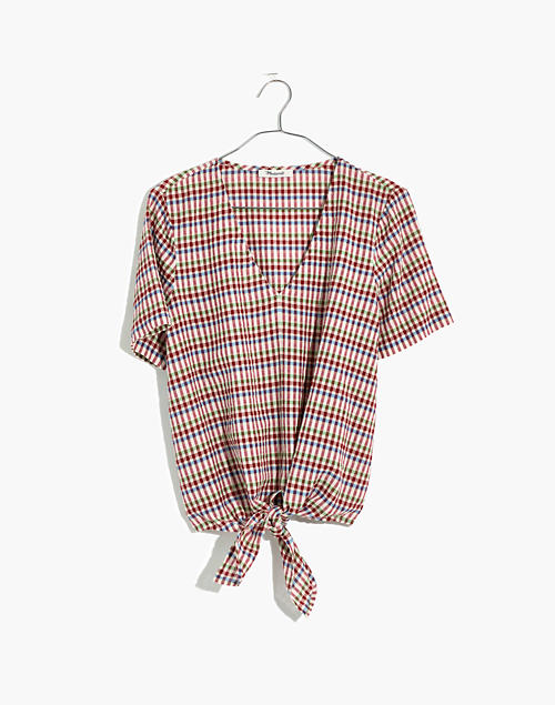 Novel Tie Front Top In Rainbow Gingham Check by Madewell