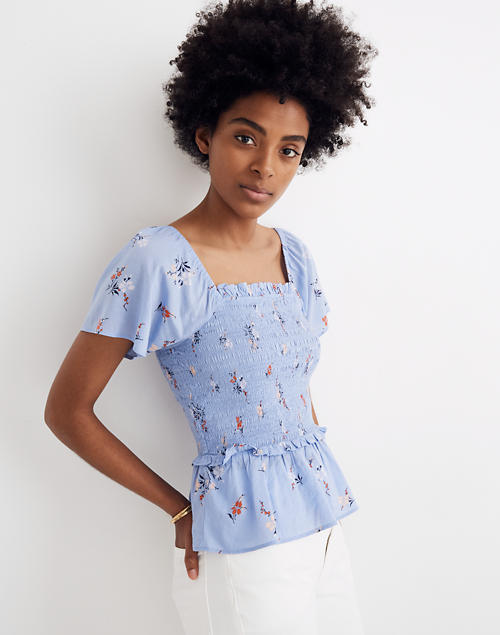 Smocked Flutter Sleeve Top In Aloha Floral by Madewell