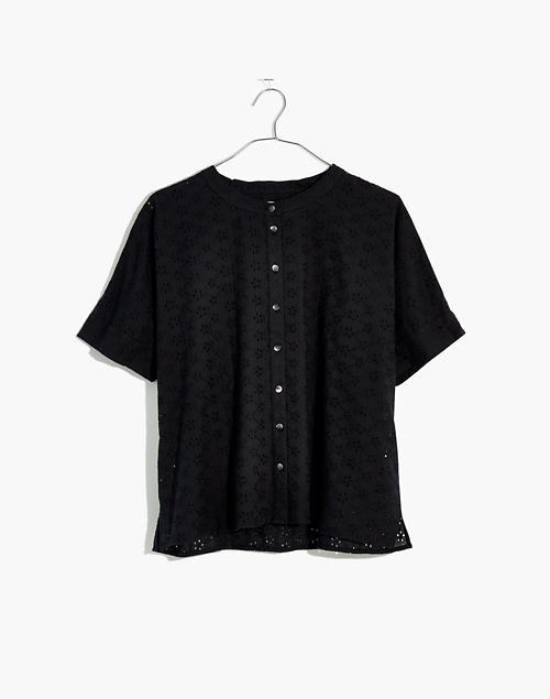 620d5d4e Eyelet Boxy Button-Down Shirt in true black image 1