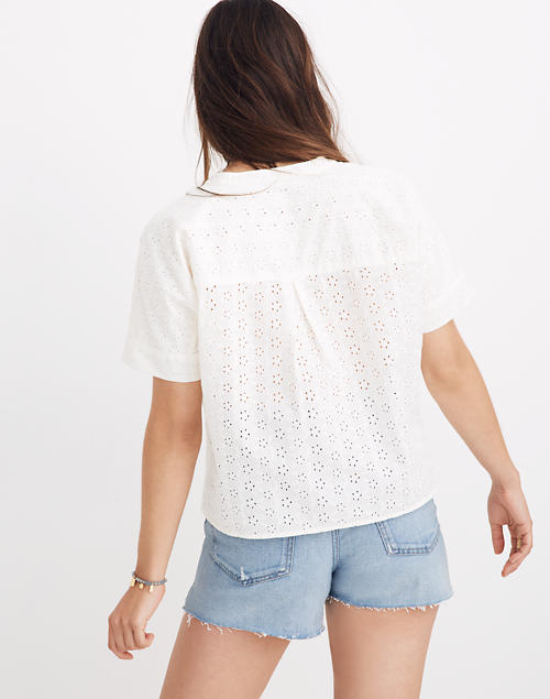 2954b5a5 Eyelet Boxy Button-Down Shirt in lighthouse image 3
