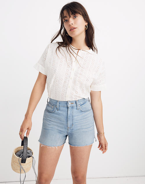 e5354f41 Eyelet Boxy Button-Down Shirt in lighthouse image 1