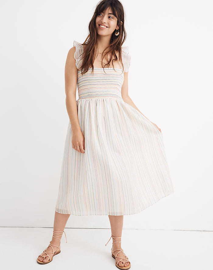 d58c93a7d6 Ruffle-Strap Smocked Dress in Rainbow Stripe