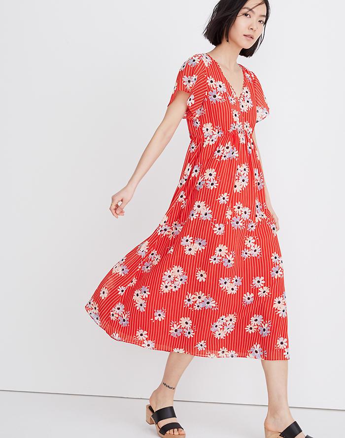 ed8a8a9972e Scalloped Flutter-Sleeve Midi Dress in Daisy Society