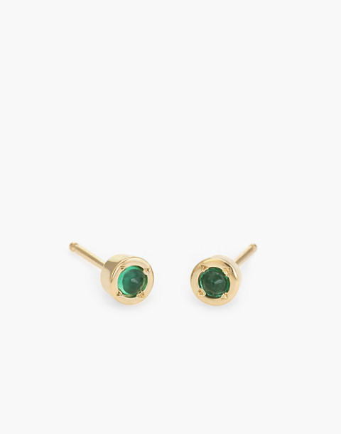 Dream Collective™ 14k Tiny Dot Emerald Stud Earrings in gold image 1