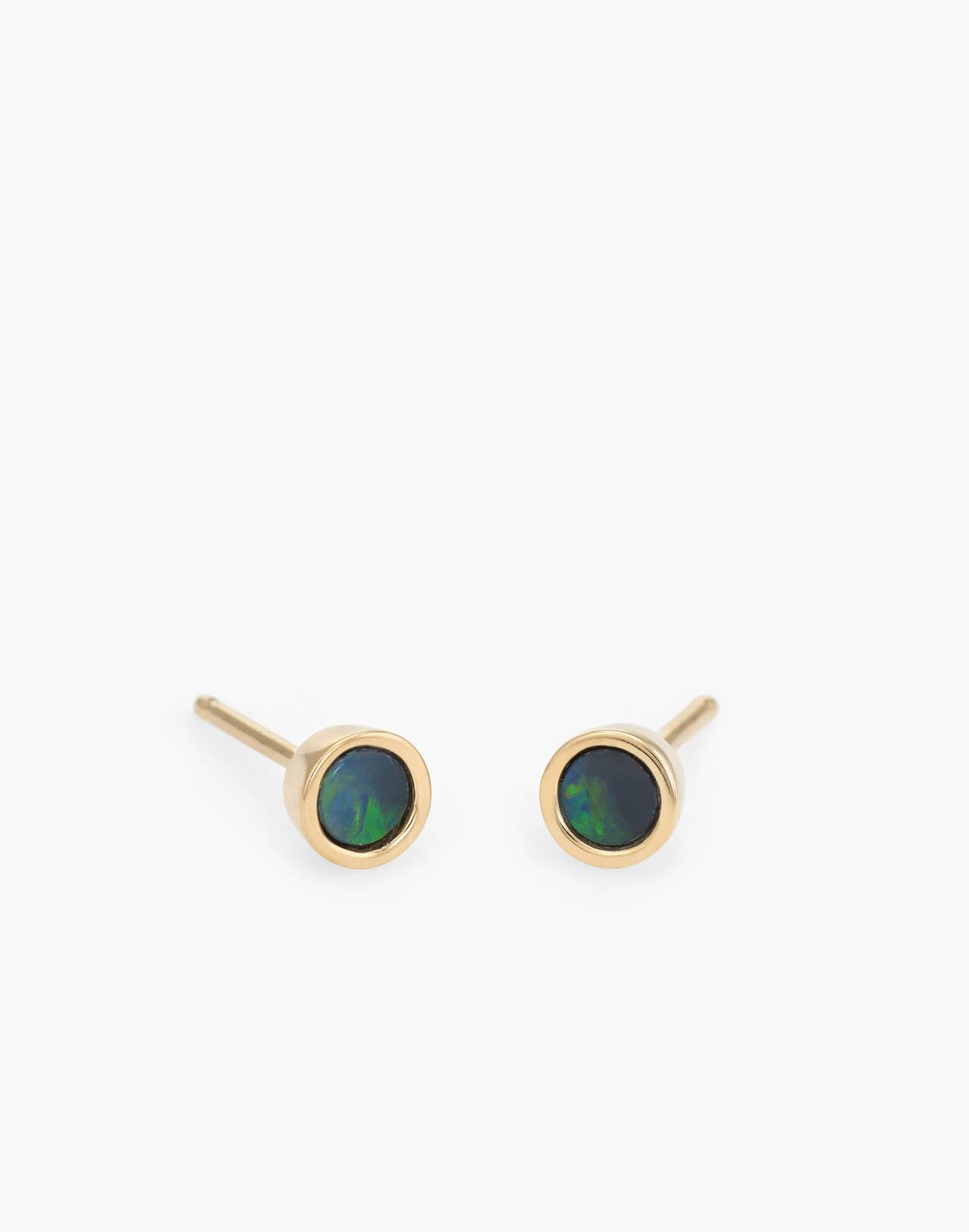 Dream Collective™ 14k Gold Tiny Dot Blue Opal Stud Earrings in gold image 1