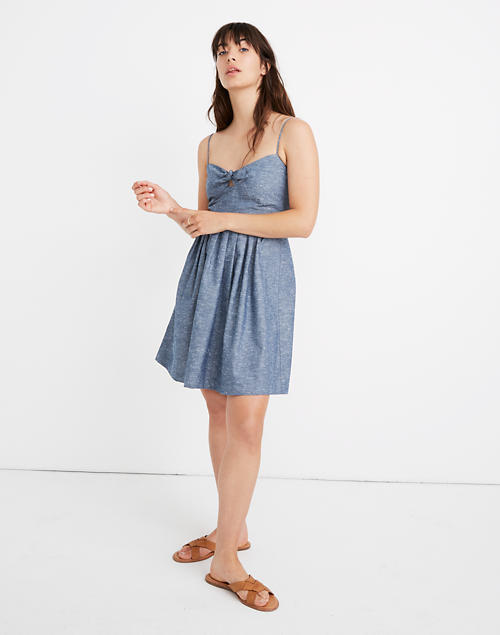 Chambray Tie Front Cutout Cami Dress by Madewell