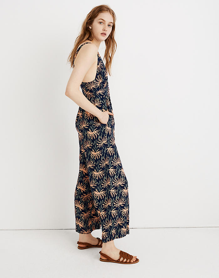 68c353bb19f0 V-Back Wide-Leg Jumpsuit in Oasis Palms