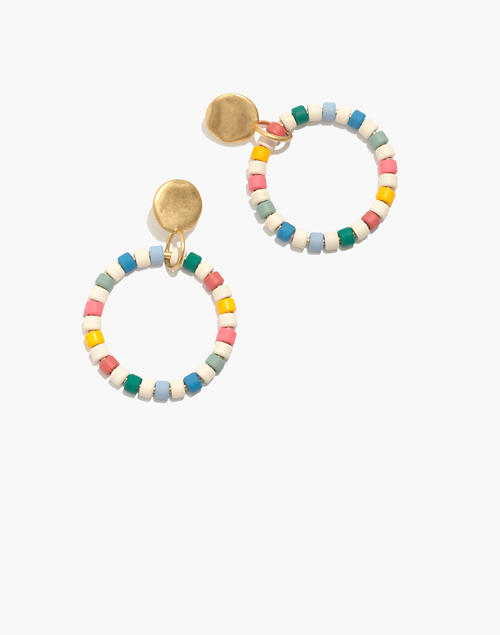 Enamel Beaded Hoop Earrings in rainbow multi image 1