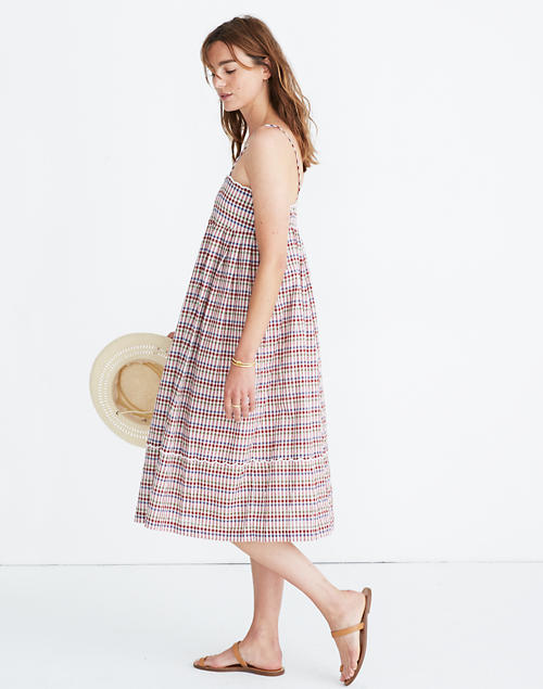 Scalloped Midi Dress In Rainbow Gingham by Madewell
