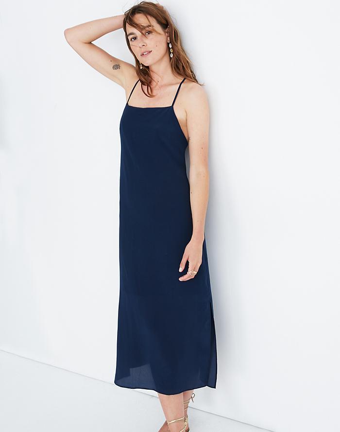 0d365d985ff9 Silk Cross-Back Slip Midi Dress ...