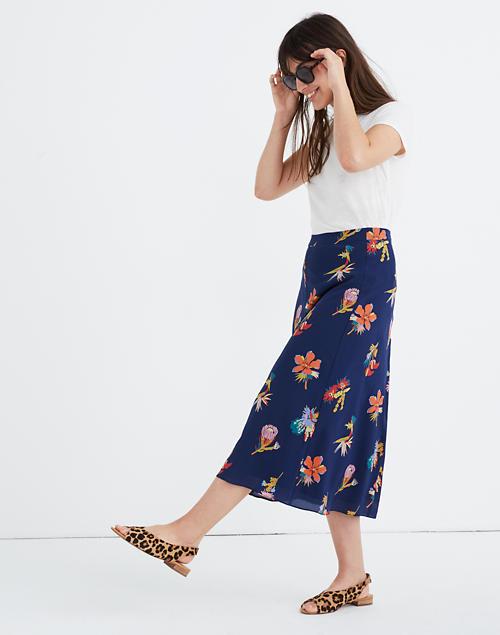 Silk Atrium Midi Skirt In Bird Of Paradise by Madewell