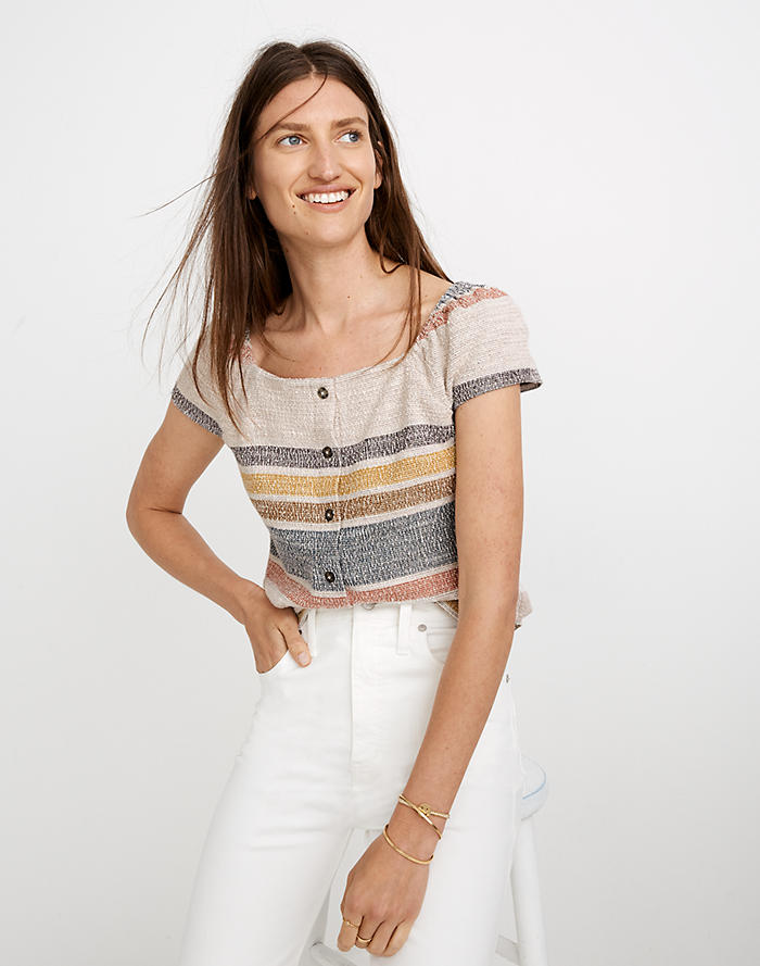 5e19007476 Top Rated. Texture & Thread Button-Front Top in Stripe
