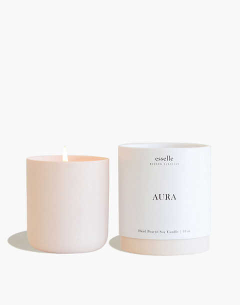 Esselle™ Leather and Teakwood Soy Candle in light pink image 2
