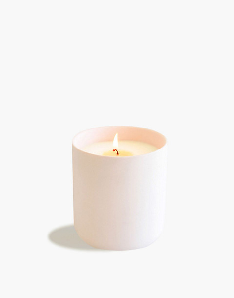 Esselle™ Leather and Teakwood Soy Candle in light pink image 1
