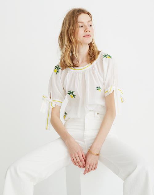 5c7c73df92 Banjanan Poppy Embroidered Tie Sleeve Top by Madewell