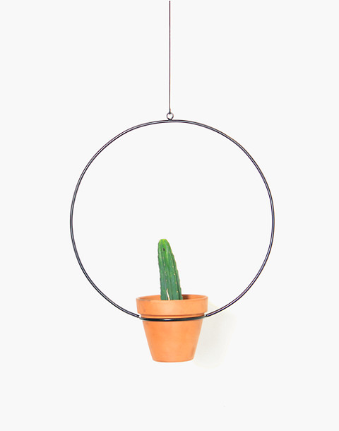 "NEWMADE LA 18"" Hanging Circle Planter in black image 1"