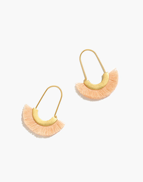 Arc Wire Fringe Earrings in peach cream image 1