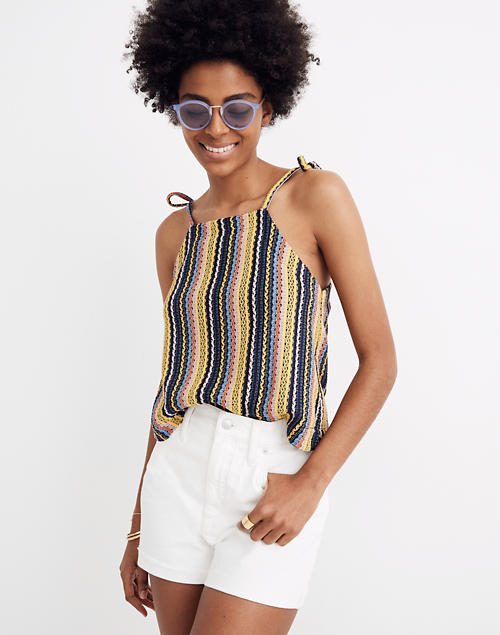Texture & Thread Tie Shoulder Tank Top In Rainbow Crochet by Madewell