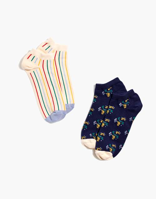 Two Pack Rainbow Stripe Ankle Socks by Madewell