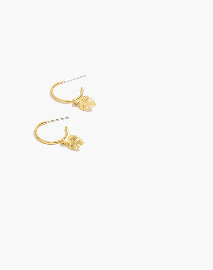 16a954129 Palmleaf Charm Mini Hoop Earrings