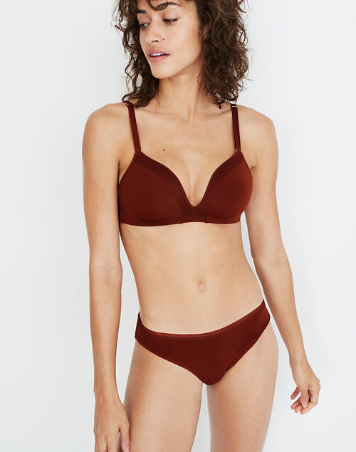 Madewell X Lively™ Mesh Trim No Wire Bra In Burnished Mahogany by Madewell