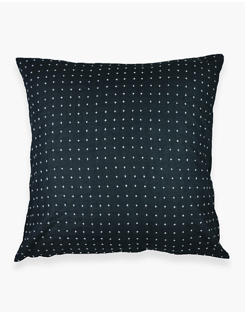 Anchal® Organic Cotton Cross-Stitch Embroidered Throw Pillow in black image 3