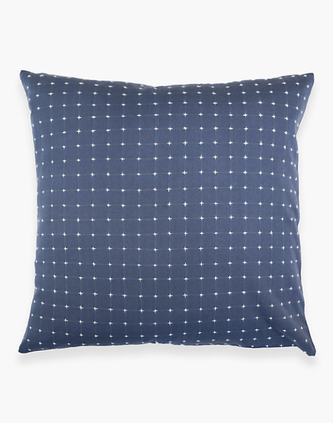 Anchal® Organic Cotton Cross-Stitch Embroidered Throw Pillow in grey image 3