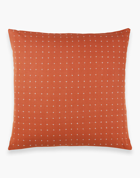 Anchal® Organic Cotton Cross-Stitch Embroidered Throw Pillow in orange image 3