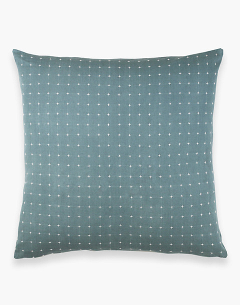 Anchal® Organic Cotton Cross-Stitch Embroidered Throw Pillow in green image 3