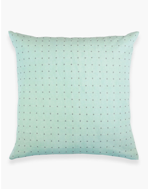 Anchal® Organic Cotton Cross-Stitch Embroidered Throw Pillow in light green image 2