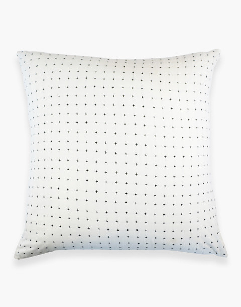 Anchal® Organic Cotton Cross-Stitch Embroidered Throw Pillow in ivory white image 3