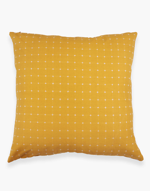 Anchal® Organic Cotton Cross-Stitch Embroidered Throw Pillow in yellow image 3