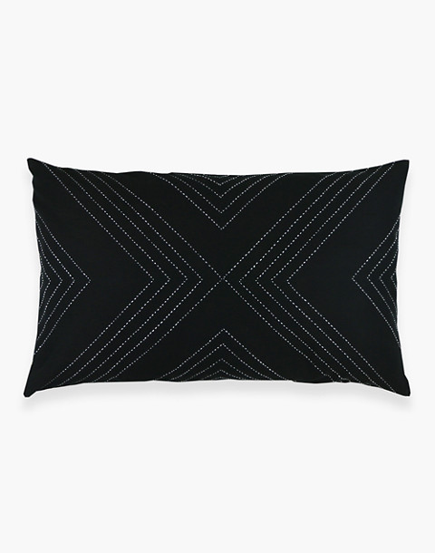 Anchal® Organic Cotton Geometric Lumbar Pillow in black image 3