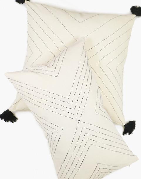 Anchal® Organic Cotton Geometric Lumbar Pillow in ivory white image 1