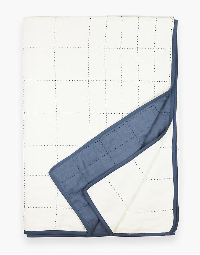 AnchalR Organic Cotton Grid Throw Quilt