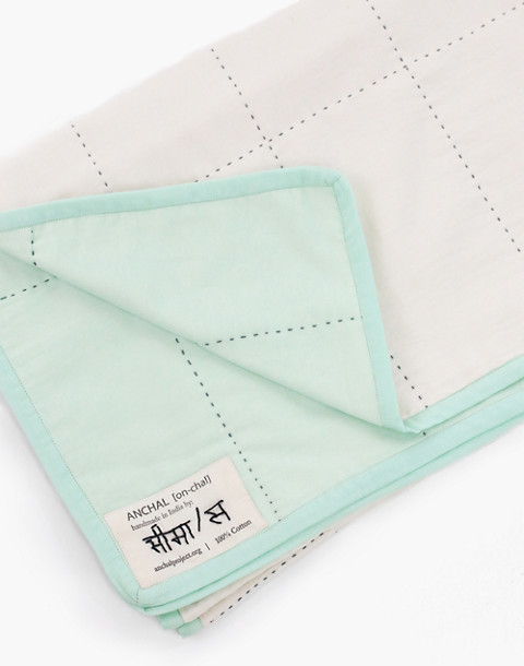 Anchal® Organic Cotton Grid Throw Quilt in light green image 2