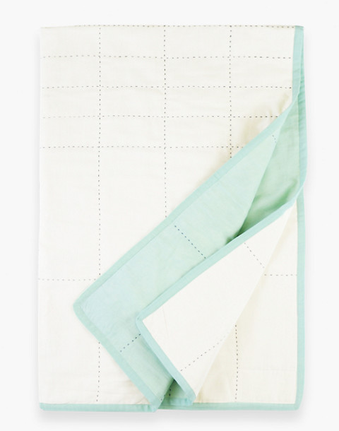 Anchal® Organic Cotton Grid Throw Quilt in light green image 3