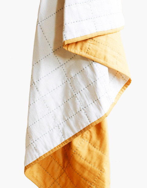 Anchal® Organic Cotton Grid Throw Quilt in yellow image 1