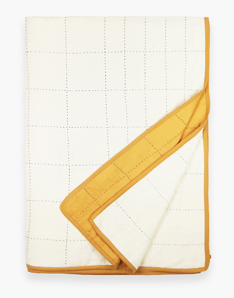 Anchal® Organic Cotton Grid Throw Quilt in yellow image 2