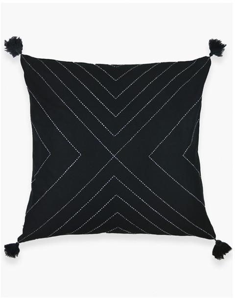 Anchal® Organic Cotton Geometric Tassel Throw Pillow in black image 1