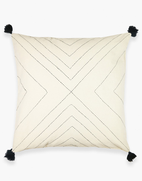 Anchal® Organic Cotton Geometric Tassel Throw Pillow in ivory white image 1